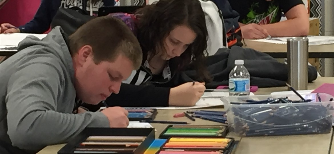 High School Art Class in Action